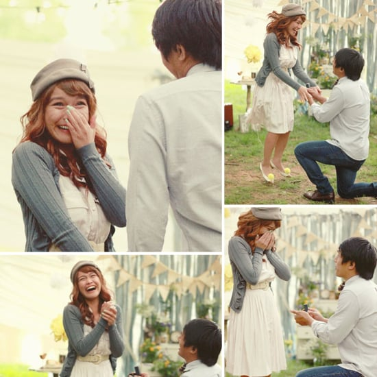 This unsuspecting lucky lady thought she was just doing a photo shoot with her boyfriend, until he got down on one knee! Photos by Ica Images