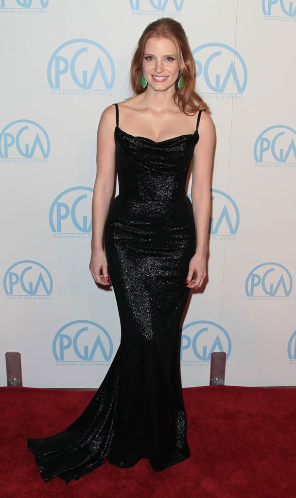 Showing off every curve to perfection, Jessica Chastain wowed in a sparkly black fit-and-flare gown at the Producers Guild Awards in 2012.