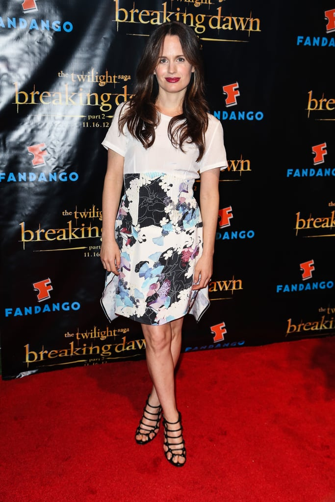 Elizabeth Reaser paired a white t-shirt with a watercolour-floral skirt and cage-inspired heels at the Breaking Dawn Part 2 party in San Diego.