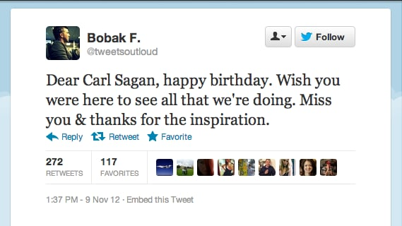 It was the legendary astronomer Carl Sagan's birthday on Friday, Nov. 9, and Mars Curiosity Flight Director Bobak Ferdowsi made a fitting tribute.