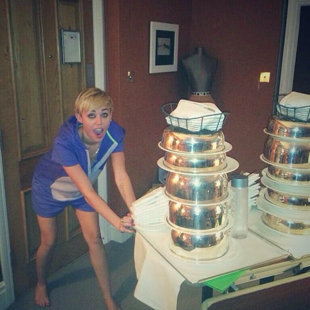 Miley Cyrus ordered a lot of hotel room service. Source: Instagram user mileycyrus