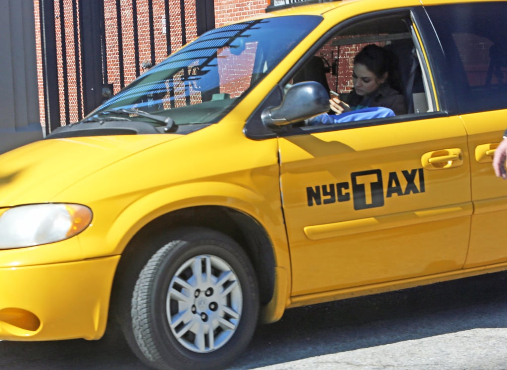 Mila Kunis shot a scene in a cab while on set in LA.