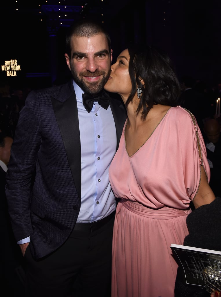 Zachary Quinto and Rosario Dawson got cute at the amfAR gala in NYC on Wednesday.