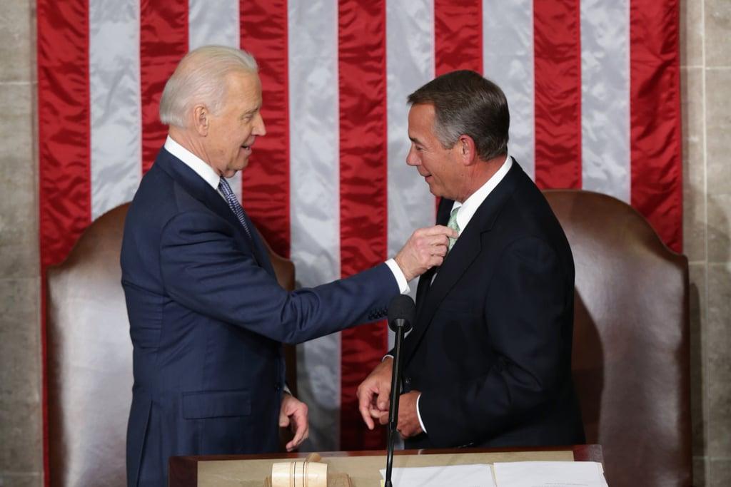 Vice President Biden fixed Speaker Boehner's tie.