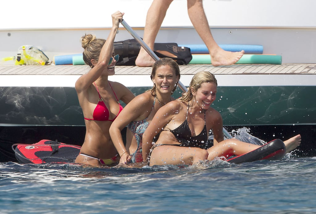 Bar Refaeli went paddleboarding in the ocean.