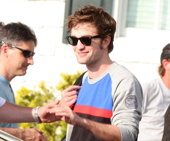 Slide Photo of Robert Pattinson Wearing a Sweatshirt on the Set of Remember Me