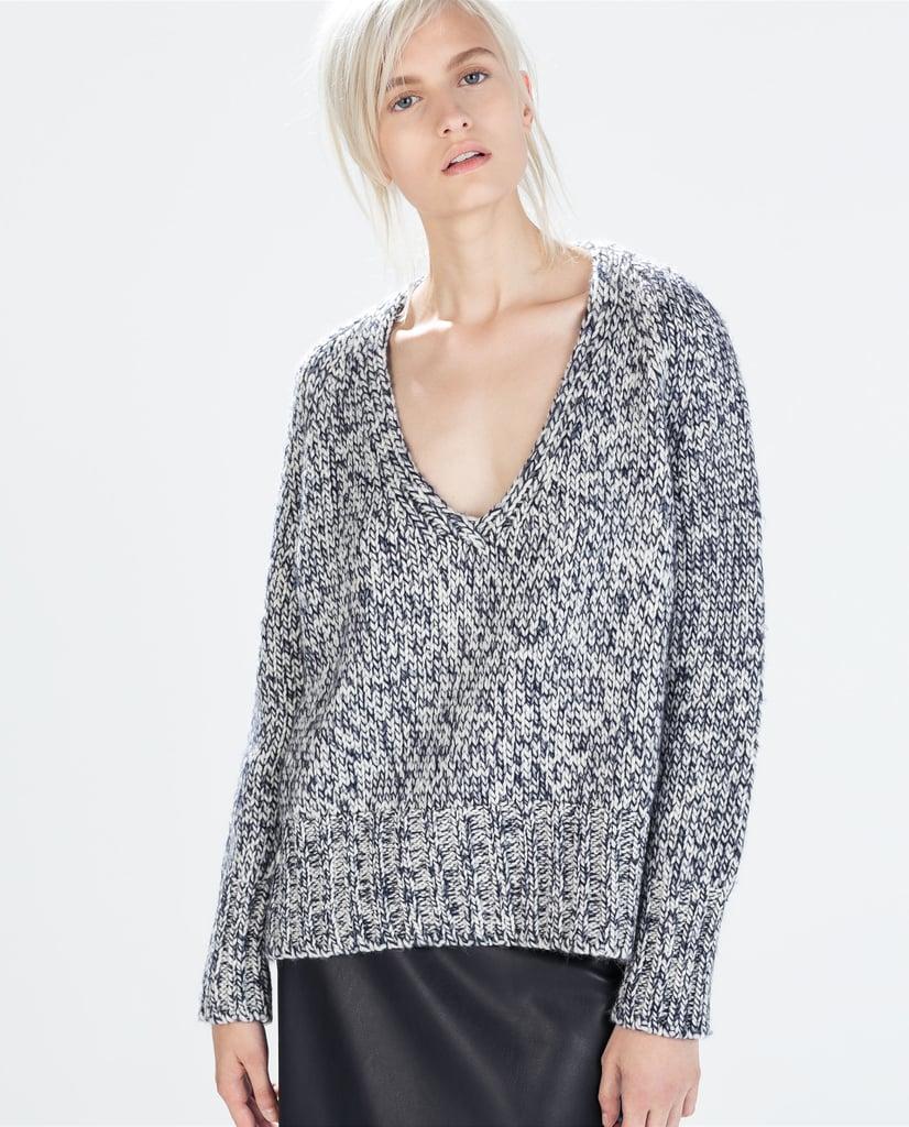 Zara V-Neck Twist Knit Sweater