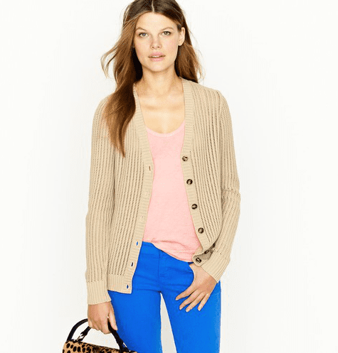 The Layer-Perfect Cardigan For cooler evenings and a layering effect, all style setters should have a cotton cardigan in the mix. Paired with bold jeans or a floral Summer dress, a cardigan can really add that refined touch. J.Crew Cotton Open-Stitch Cardigan ($40, originally $95)