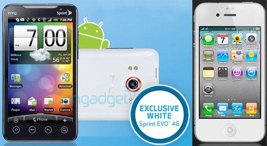 White HTC EVO 4G and iPhone 4
