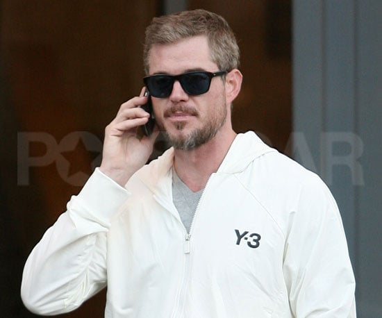 Slide Picture of Eric Dane Talking on His Cell Phone in LA