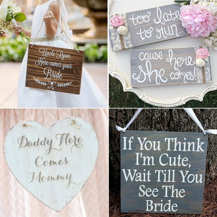 flower girl and ring bearer sign ideas popsugar moms. Black Bedroom Furniture Sets. Home Design Ideas