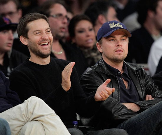 Slide Photo of Tobey Maguire and Leonardo DiCaprio at Lakers game