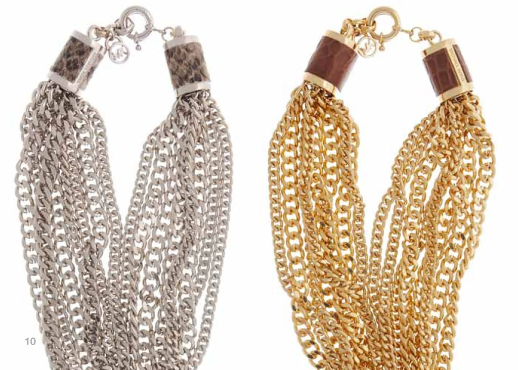 Silvertone Multi-Chain Necklace with Sand Python Embossed Leather Closure or Goldtone Multi-Chain Necklace with Luggage Croc-Embossed Leather Closure: $350 each