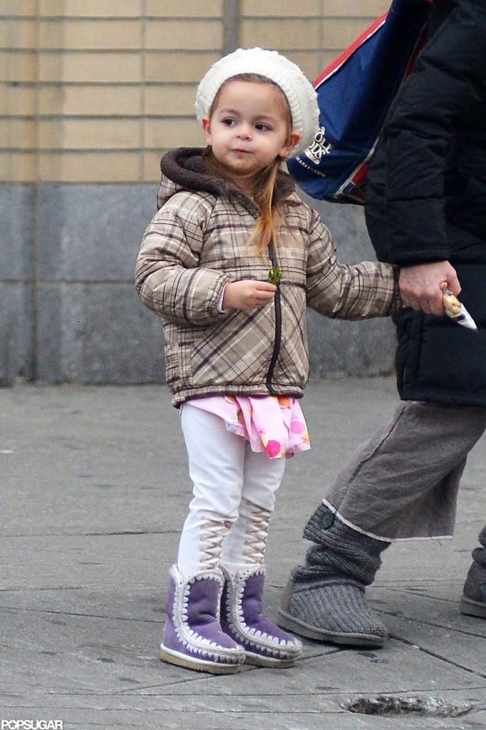 Tabitha Broderick wore stylish purple boots to keep warm in NYC.