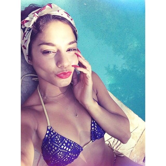 Vanessa Hudgens snapped a poolside selfie. Source: Instagram user vanessadhudgens
