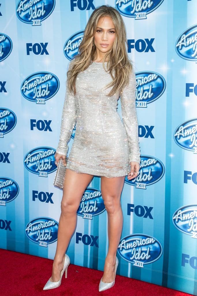 Jennifer Lopez showed off her legs at the American Idol season 13 finale on Wednesday.