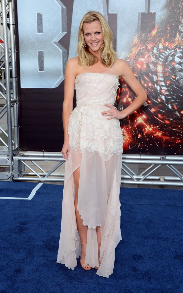 Brooklyn Decker wore a sheer white dress on the blue carpet for the premiere of Battleship in LA.