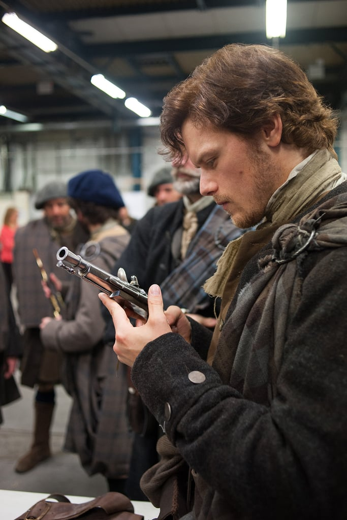 Here's the sexy Heughan behind the scenes. Yep, still hot in modern day.