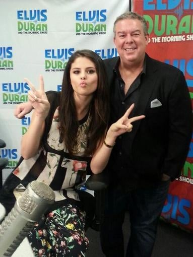 Selena Gomez wore a floral 3.1 Phillip Lim ensemble to hang with radio-show host Elvis Duran. Source: Twitter user selenagomez