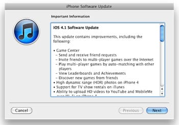 iOS 4.1 Update Available