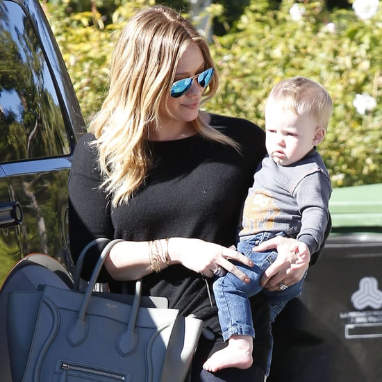 Hilary Duff Carries Baby Luca to a Friend's House | Pictures