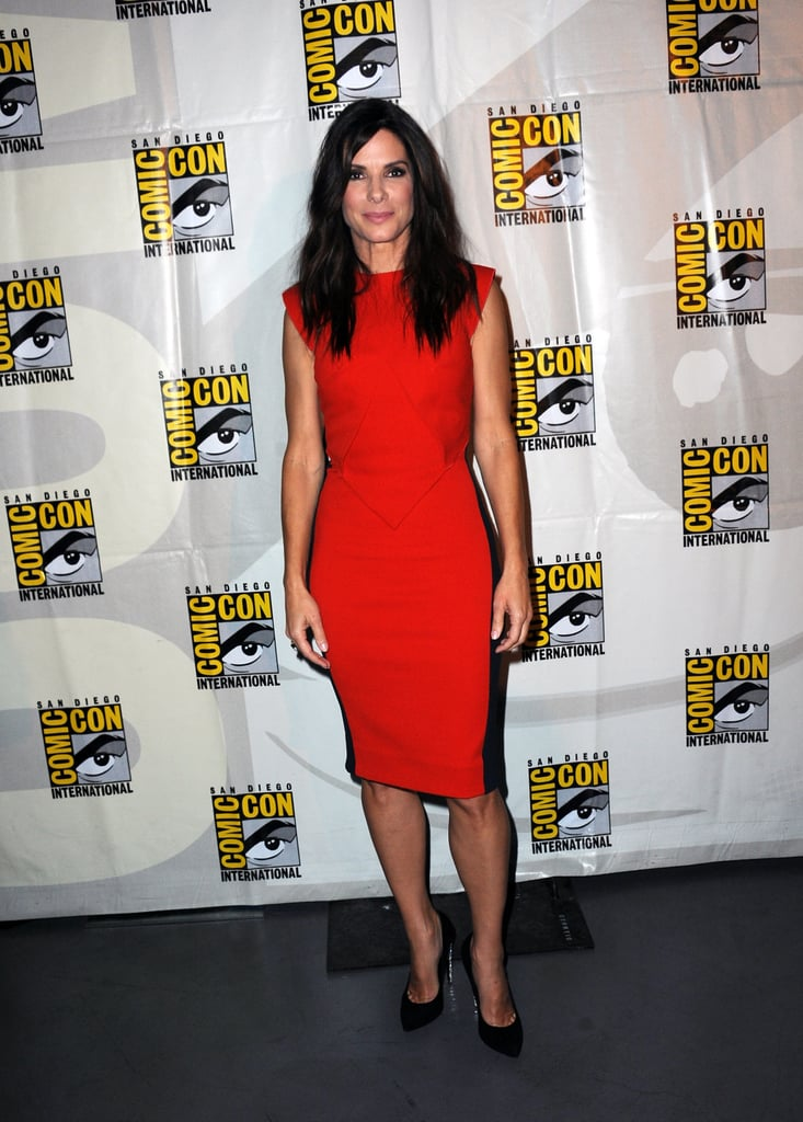 Sandra Bullock also attended the Warner Bros. and Legendary Pictures preview and chose a sleeveless red cocktail dress for the occasion.