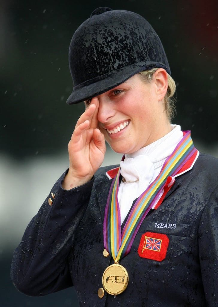 Zara was awarded her gold medal at the eventing competition of the World Equestrian Games in 2006.