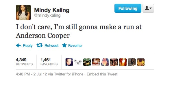 Mindy Kaling responded to Anderson Cooper's coming-out news.