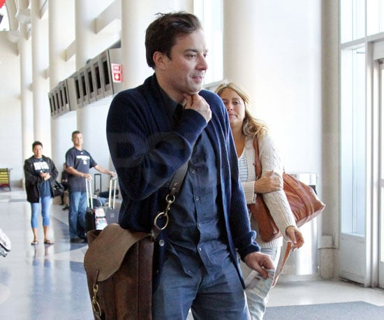 Slide Picture of Jimmy Fallon and Nancy Juvonen at LAX