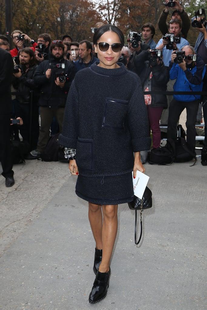 Zoë Kravitz arrived at the Chanel Spring 2014 fashion show.