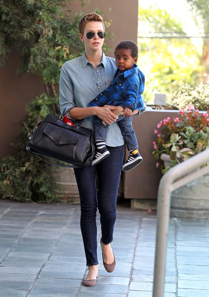 Charlize Theron accompanied Jackson to a children's gym in LA.