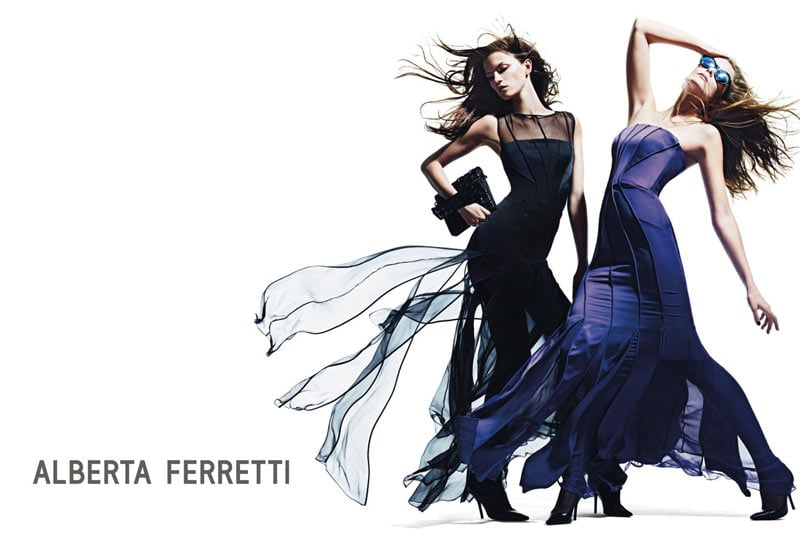 Models strike a wind-blown pose for Alberta Ferretti's Fall '12 campaign.