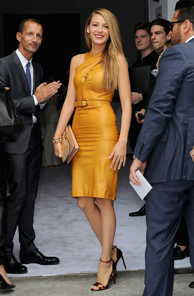Blake Lively made an unmistakably stunning debut at Milan Fashion Week wearing a formfitting halter Gucci number.