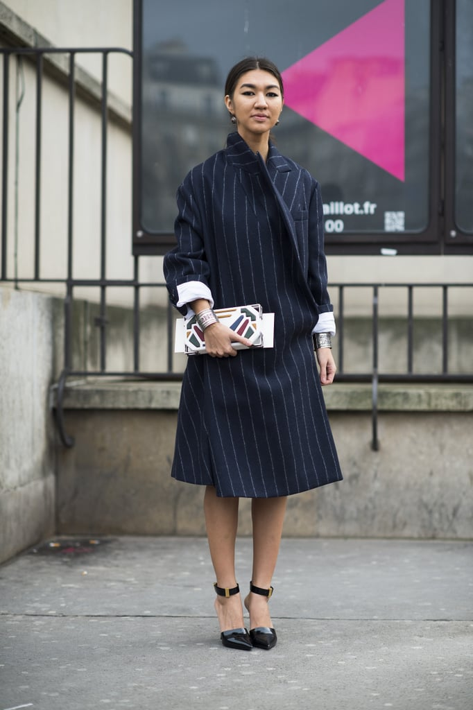 A pinstriped coat and eclectic wares — it's like The Wolf of Wall Street went to Fashion Week.  Source: Le 21ème   Adam Katz Sinding