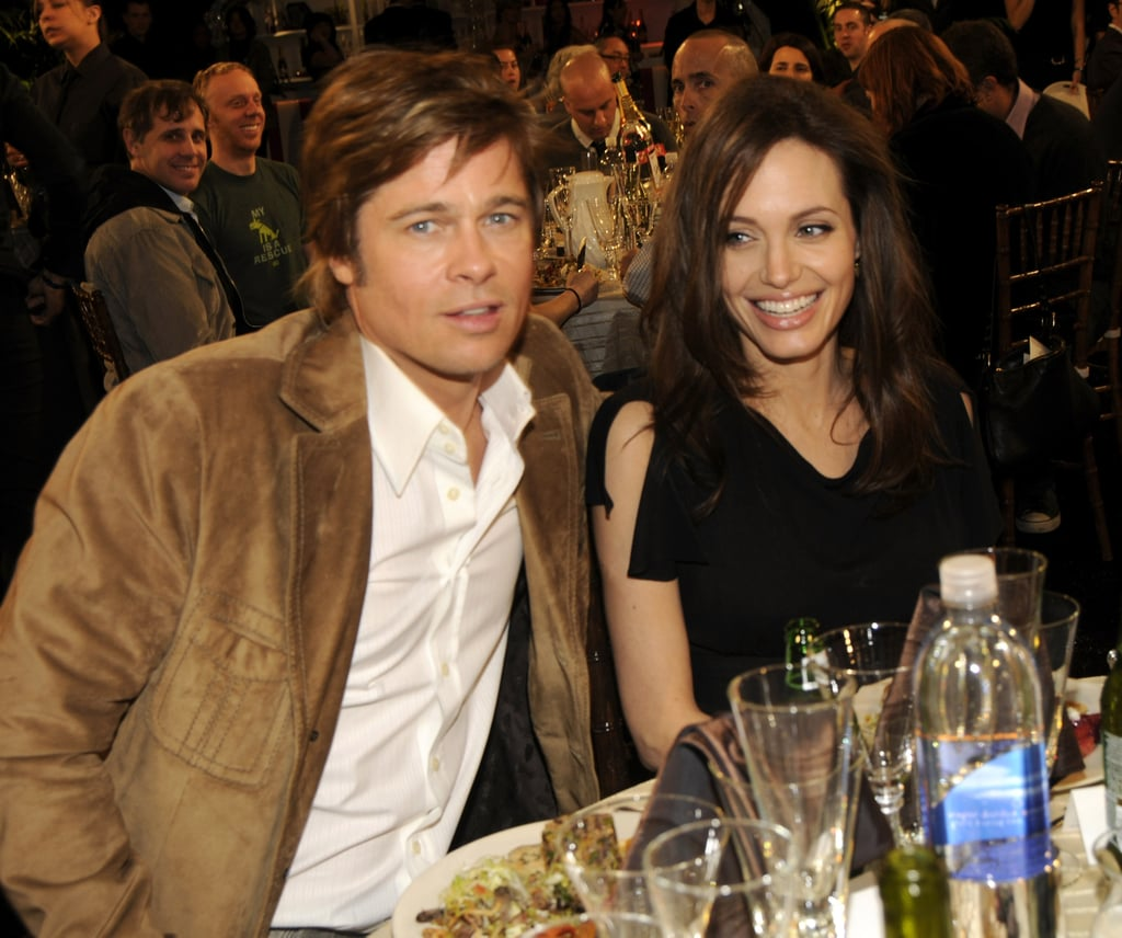 Angelina Jolie and Brad Pitt sat side-by-side at the February 2008 Independent Spirit Awards