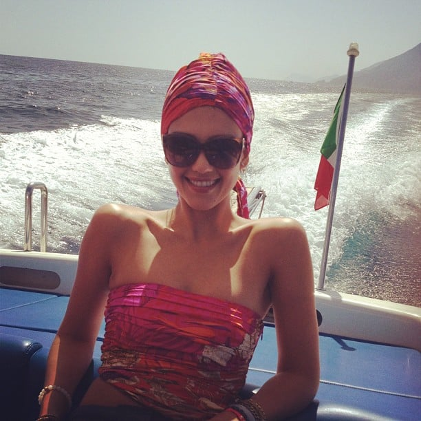 Jessica Alba channeled Jackie O. on a boat in Italy. Source: Instagram user jessicaalba