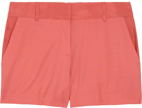 Elizabeth and James Colby silk-trimmed brushed-twill shorts