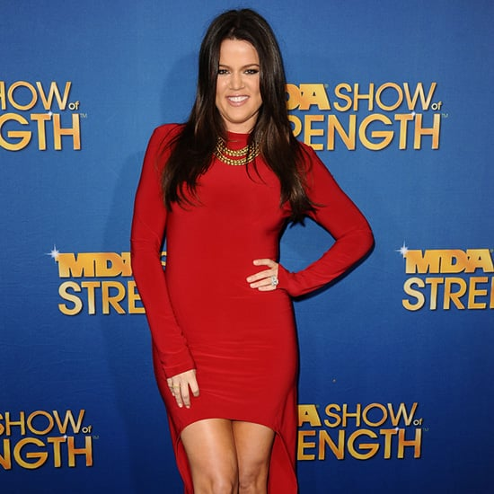 Khloe Kardashian Wearing Red High Low Dress
