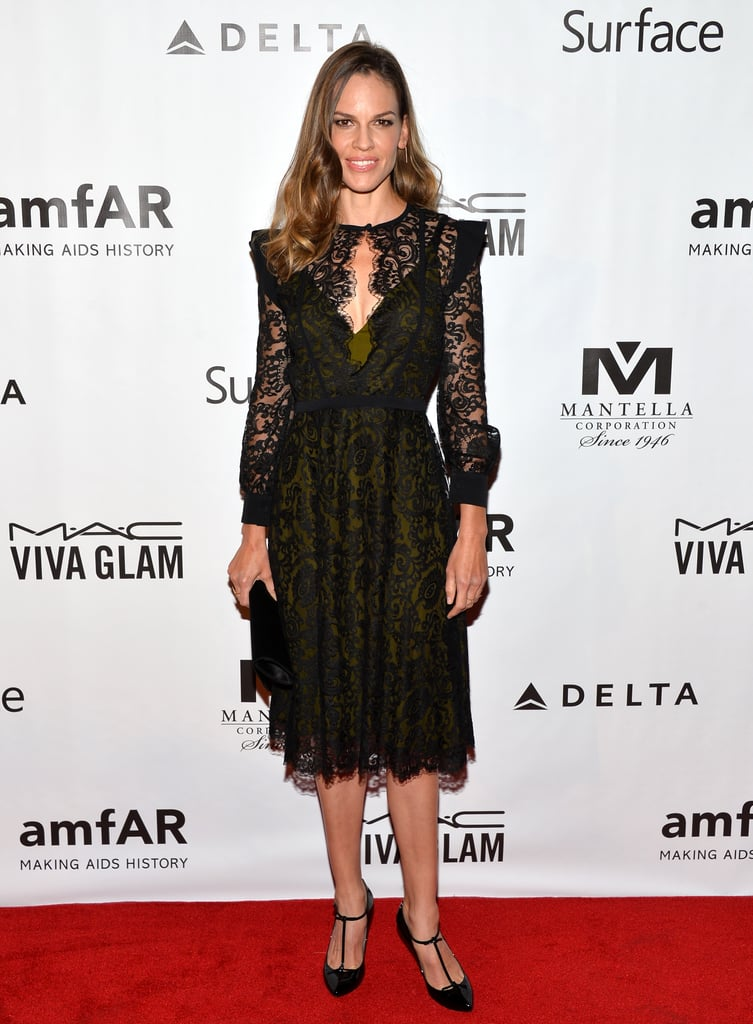 Hilary Swank's black lace Gucci dress was undeniably classy at the amfAR Inspiration Gala in Toronto, but the keyhole lent a hint of sultriness.