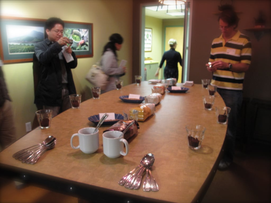 """Getting ready for our """"around the world"""" coffee tasting, in Element, one of several rooms used for cupping."""