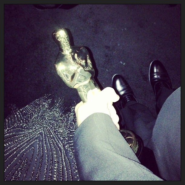 Stacy Keibler snapped a photo of George Clooney's Oscar. Source: Instagram user stacykeibler
