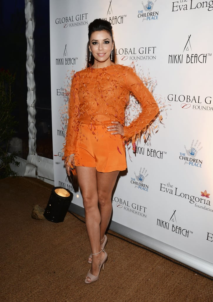 At her 2013 Global Gift Gala afterparty, Eva Longoria wasn't afraid to embrace bold color or texture with a feathered, tangerine-hued Emilio Pucci top-and-short set.
