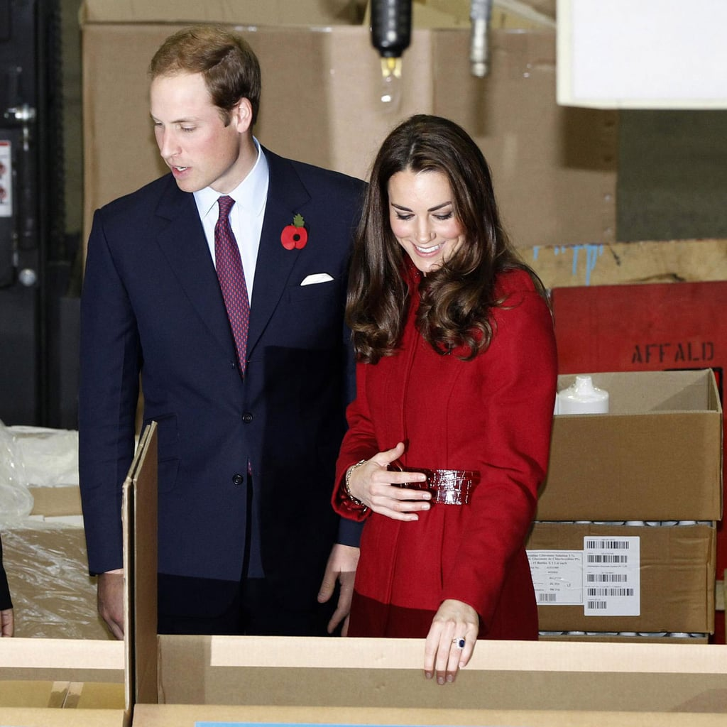Kate Middleton held her belly while Prince William spoke to UNICEF workers.