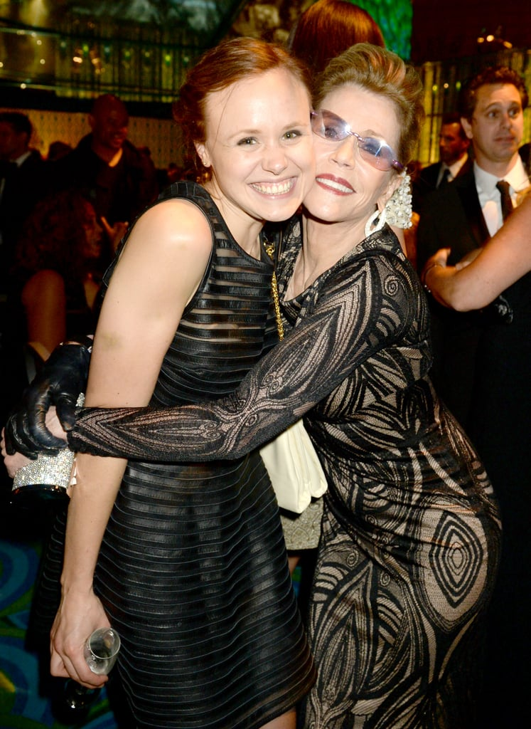 Alison Pill and Jane Fonda shared a hug at the 2013 HBO Emmys afterparty.