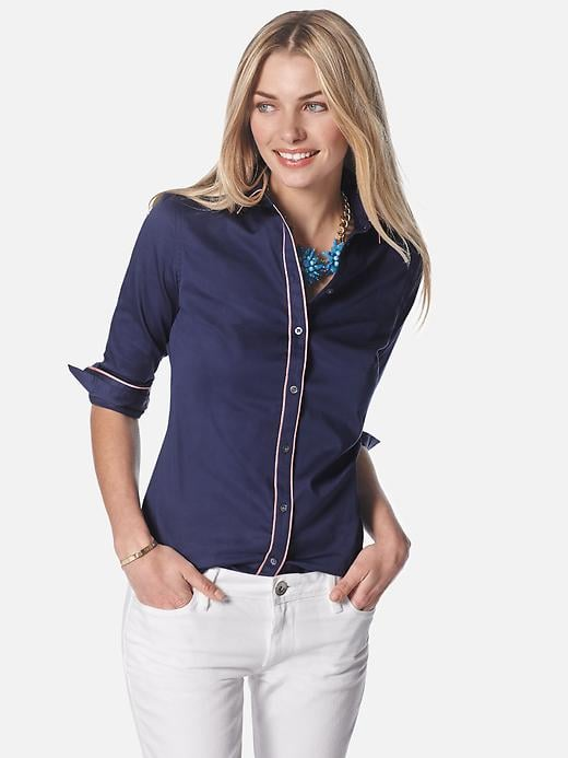 The white stitching on this Piped Shirt ($70) adds a cool contrast that'll look even better against white trousers or a sleek white pencil skirt.