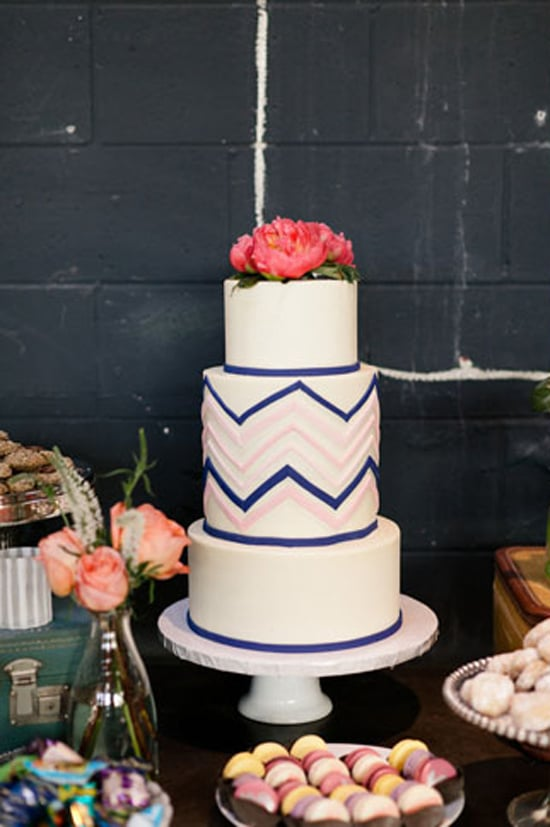 One way to do minimalism when it comes to prints: limiting it to one design on one layer, like this chic chevron-patterned wedding cake.  Photo by Erin Hearts Court via Green Wedding Shoes
