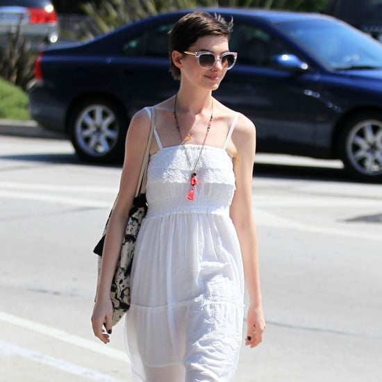 Anne Hathaway Wearing White Maxi Dress