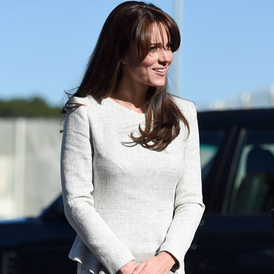 Kate Middleton Wearing Gray Peplum Dress