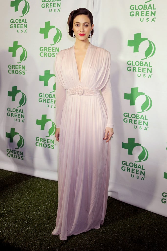 Emmy Rossum wore Sophia Kokosalaki at Global Green USA's pre-Oscars party in Los Angeles.