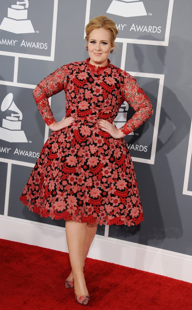 Adele posed on the red carpet at the Grammys.